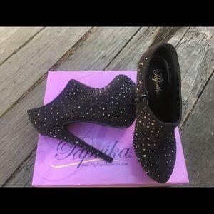 High heeled platform ankle booties